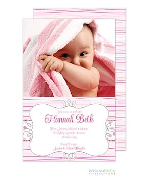 My Very First - Pink Girl Photo Birth Announcement