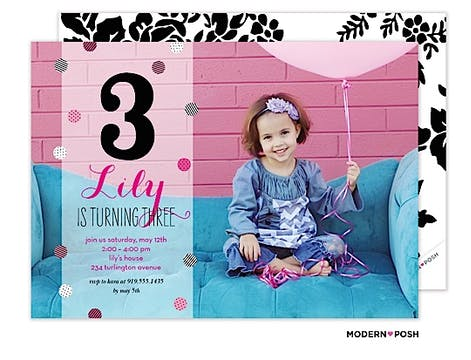 Baby Sparkle Monogram Photo Invitation