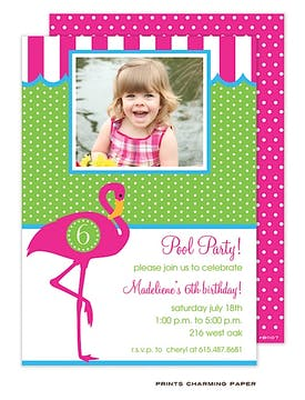 Pink Flamingo Party Photo Invitation