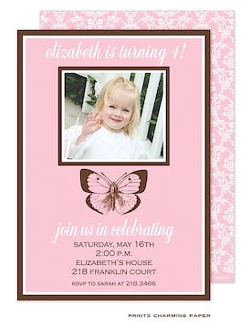 Birthday Butterfly Photo Invitation