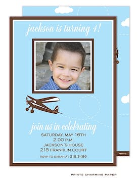 Blue Plane Birthday Photo Invitation