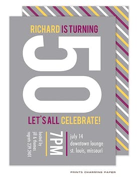 Purple and Gold Diagonal Stripes on Grey Invitation