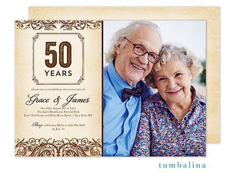 Anniversary Vintage Scrolls Beige Photo Invitation