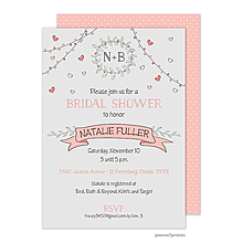 Wreath & Banner Light Grey & Coral Invitation