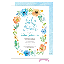 Watercolor Blossom Wreath (Blue) Invitation