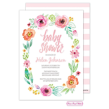 Watercolor Blossom Wreath (Pink) Invitation
