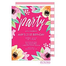 Wonderful Watercolor Blossoms (Pink) Invitation