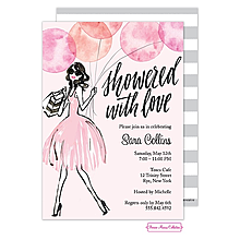 Whimsical Watercolor Balloons (Pink) Invitation