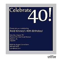 Navy and silver birthday invitation