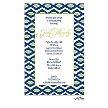 Navy and Lime Green Ikat Invitation