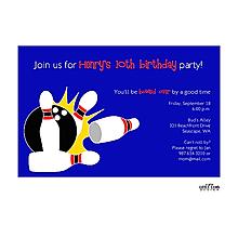 Blue Bowling Invitation