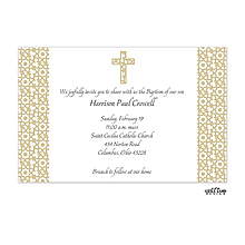 Elegant Beige Cross Invitation
