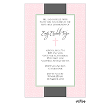 Pink and grey cross invitation