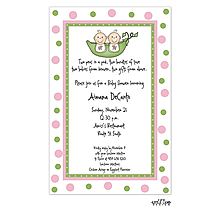 Twin babies in a peapod invitation