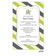 Cute Stripes and Carriage Baby Shower Invitation