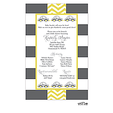 Grey and Yellow Cars Shower Invitation