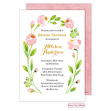 Pink Botanical Wreath Invitation