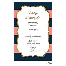 Glitter frame elegant stripes Invitation