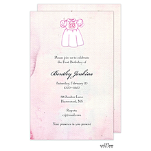 Sweet Baby Girl Monogrammed Dress Watercolor Invitation