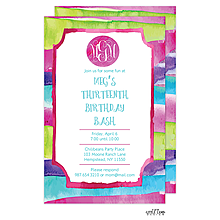 Watercolor Stripes Invitation
