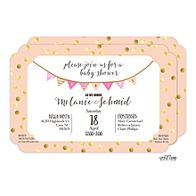 Peach with Gold Dots Baby Shower Invitation