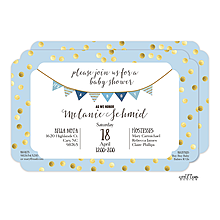 Blue with Gold Dots Baby Shower Invitation