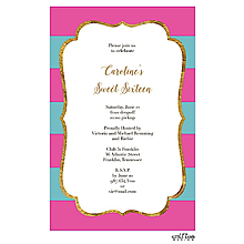 Glitter frame elegant stripes Invitation