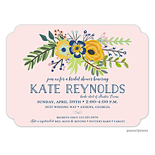 Navy & Gold Bouquet Blush Invitation