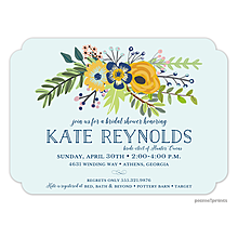 Navy & Gold Bouquet Aqua Mist Invitation