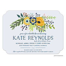Navy & Gold Bouquet Light Purple Invitation