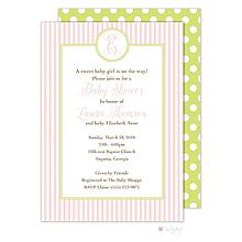 Pink Stripes Monogram Invitation