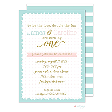 Scallop Dots Twins Birthday Invitation
