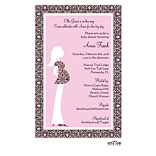 Pink Pregnant Lady Invitation