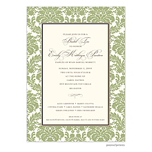 Damask On Ivory Sage Invitation