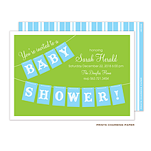 Blue Baby Shower Banner Invitation
