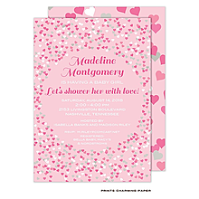 Pink Confetti Hearts Baby Shower Invitation
