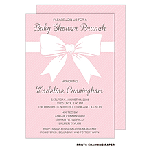 Sweet Pink Baby Shower Bow Invitation