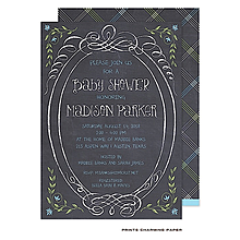Sweet Blue Chalkboard Baby Shower Invitation