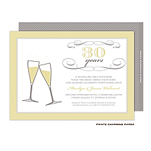 Gold on Grey Champagne Toast Invitation