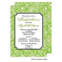 Green Floral Damask Invitation