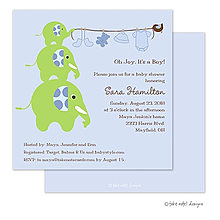 Elephants Clothesline Blue Invitation