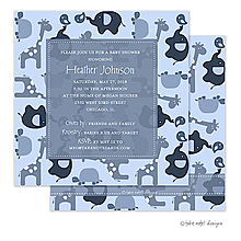 Modern Blue Animal Print Invitation