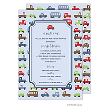 Boy Cars Baby Shower Tag Invitation
