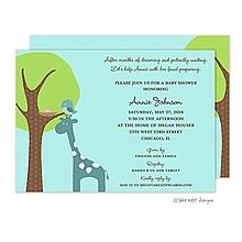 Giraffe Lift Baby Girl Invitation
