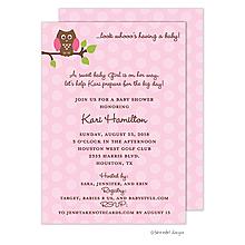 Pink Owl Polka Invitation
