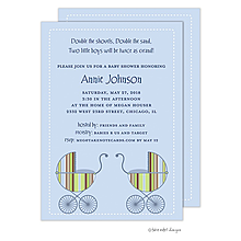 Striped Boy Twin Carriage Invitation