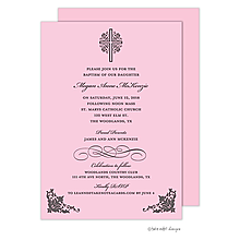 Cross with Ornate Corners Pink Invitation
