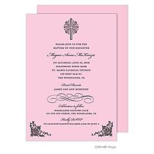 Cross with Ornate Corners Pink Invitation