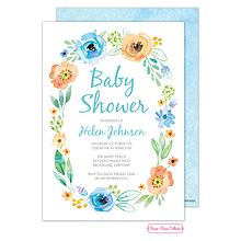 Watercolor Blossom Wreath (Blue) Invitation
