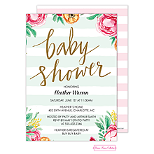 Baby Shower Stripes Foil Invitation